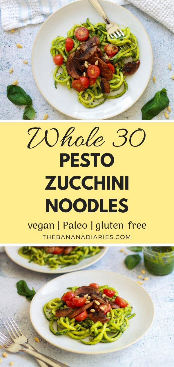 Vegan Pesto Zoodles | These paleo vegan pesto zoodles are the perfect alternative for Whole30 followers! The pesto is easy, delicious, and will become a family favorite! | #thebananadiaries #pesto #vegan #paleo #zoodles #whole30