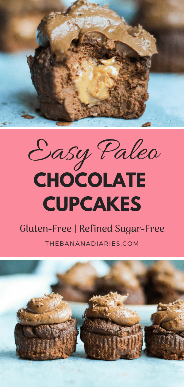 Easy Paleo Chocolate Cupcakes   These paleo chocolate cupcakes with chocolate avocado frosting are incredibly easy and filled with nut butter! They're the perfect treat for all ages and completely gluten free!   #thebananadiaries #paleo #chocolatecupcakes #paleochocolatecupcakes #glutenfree #easychocolatecupcakes