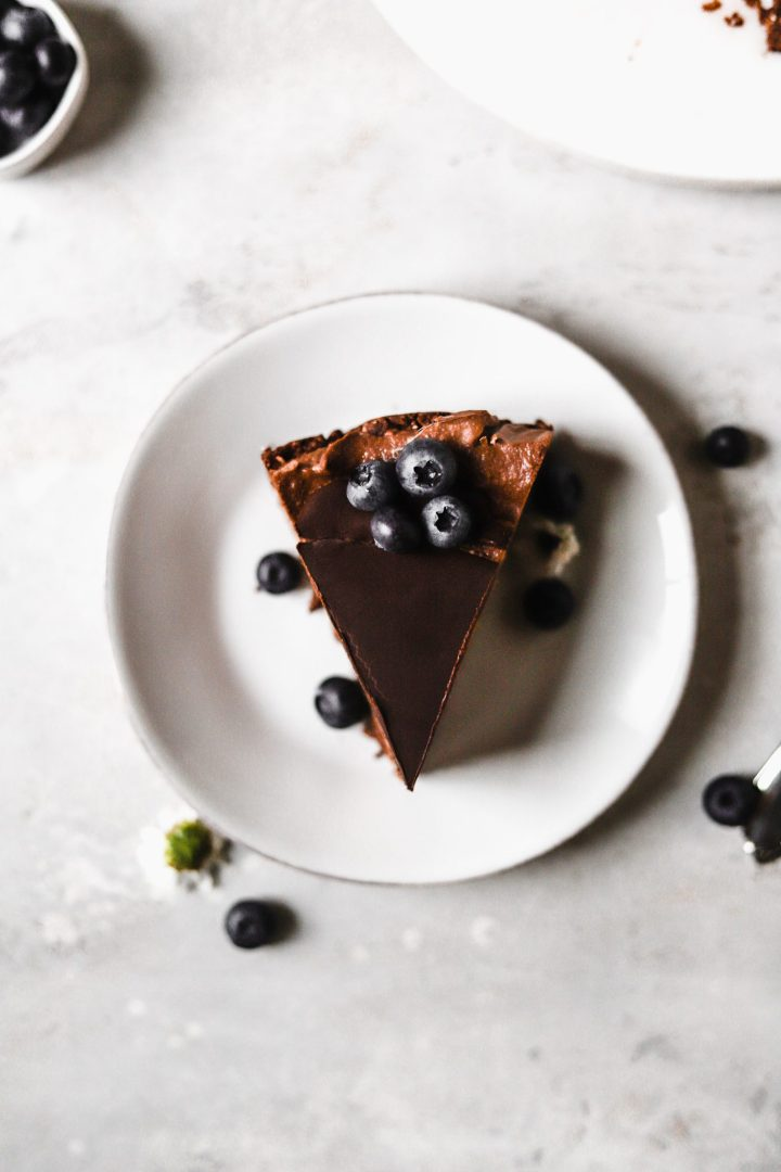 slice of healthy chocolate cheesecake