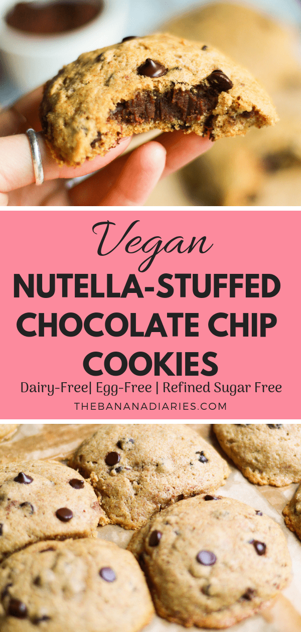 Vegan Nutella Stuffed Chocolate Chip Cookies | These gooey vegan Nutella stuffed chocolate chip cookies are downright addictive and completely dairy free, egg free, and refined sugar free! With chewy edges and a soft center, it's the perfect chocolatey bite! | #thebananadiaries #nutella #nutellastuffedcookies #vegan #chocolatechipcookies #chocolate #sugarfree