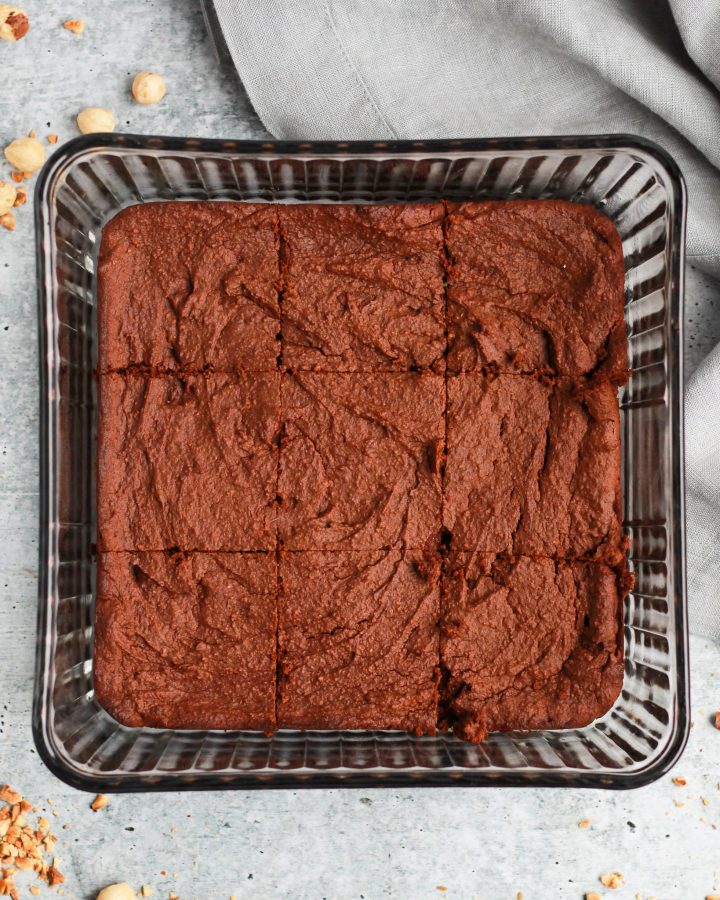 healthy vegan Nutella brownies baked and sliced into ninths