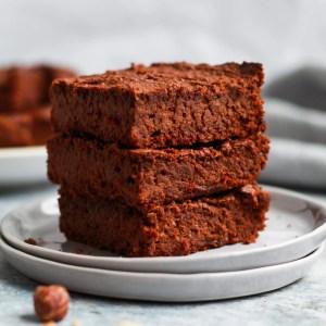 Stack of healthy vegan Nutella brownies