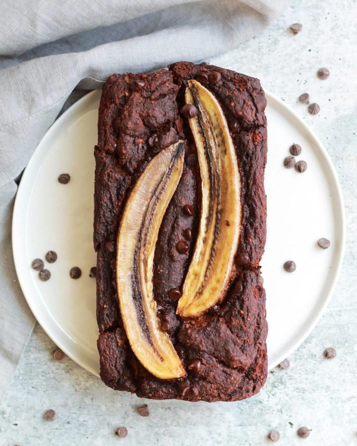 overhead shot of paleo double chocolate banana bread