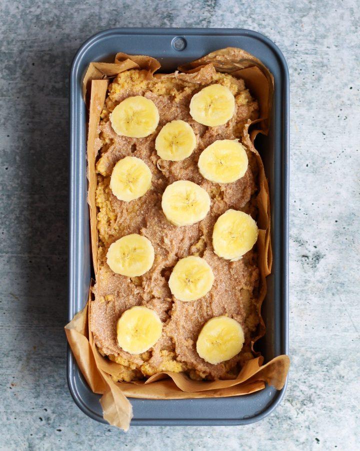 paleo cinnamon swirl banana bread before it's baked