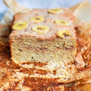 paleo cinnamon swirl banana bread sliced to see the inside
