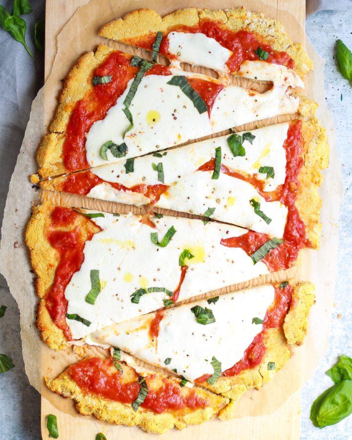 sliced margherita pizza