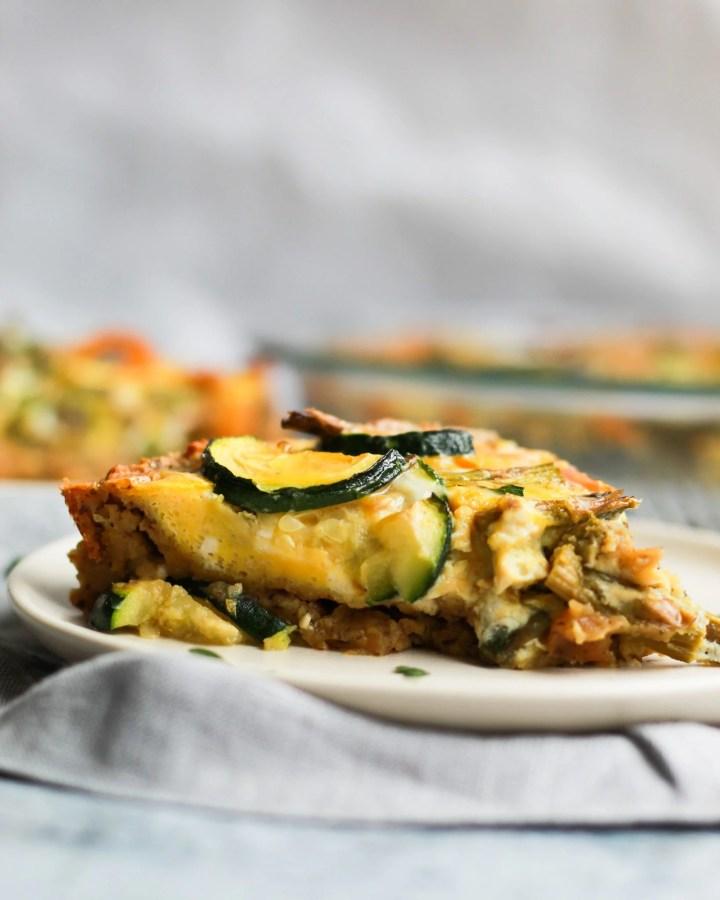 close up of paleo quiche lorraine with sweet potato pie crust