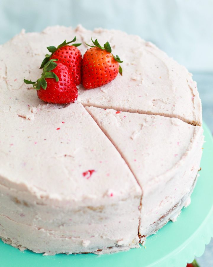 homemade strawberry cake with slice marks