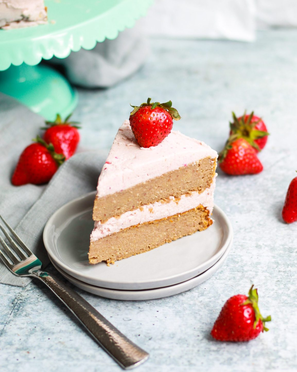 homemade strawberry cake slice, two layers