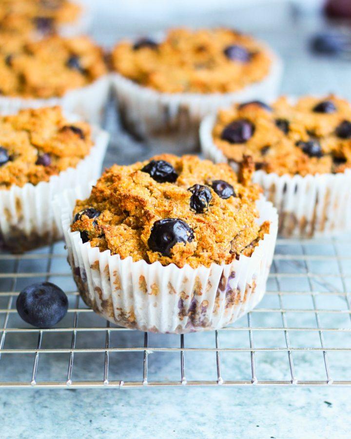 close up of vegan paleo blueberry muffin