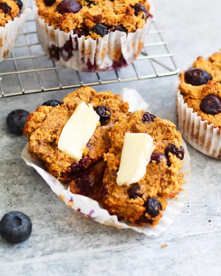 vegan blueberry muffin close up