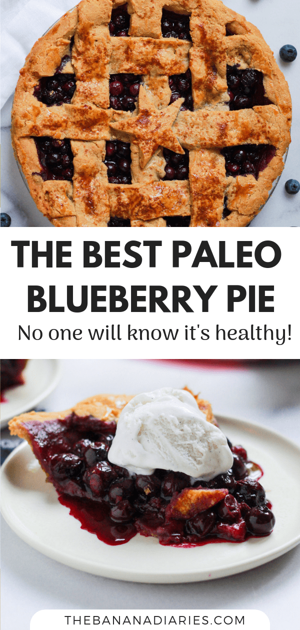 pinterest image for Paleo blueberry pie