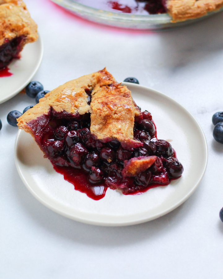 close up of blueberry pie slice