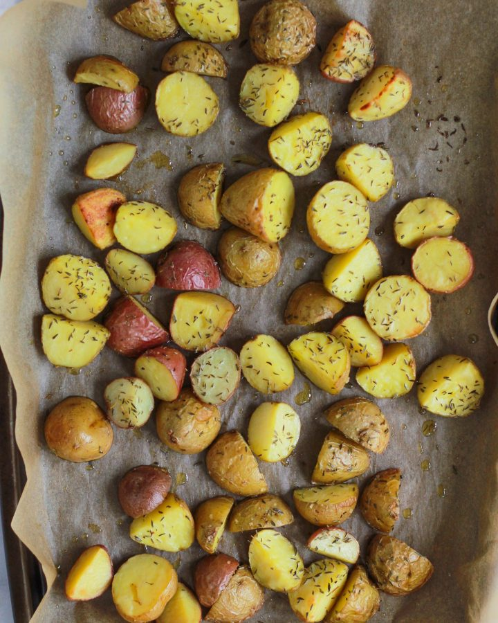 roasted potatoes on pan sheet