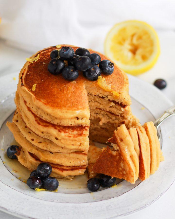 bite out of lemon ricotta pancakes