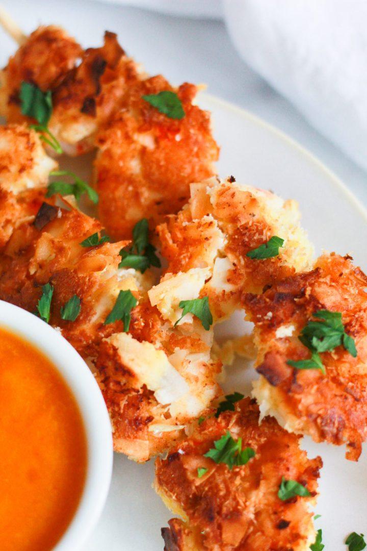 close up of coconut shrimp