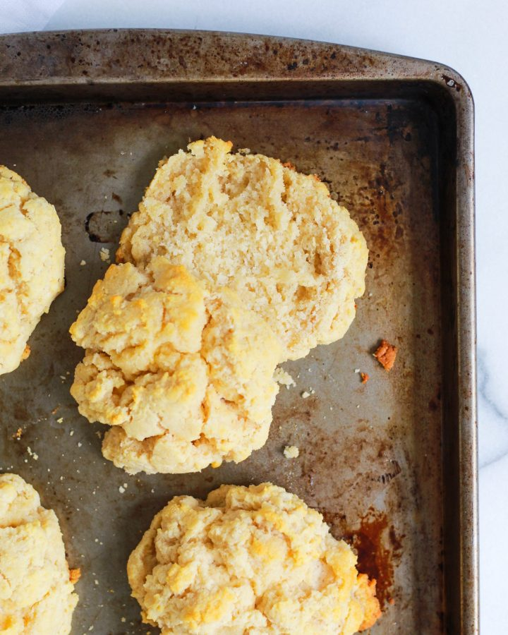 flaky Paleo biscuit on baking pan