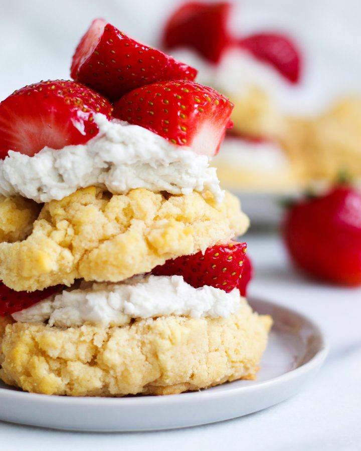 close up of classic 3 layered strawberry shortcake