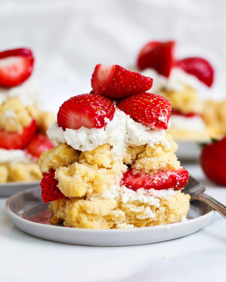 strawberry shortcake with bite taken out of it