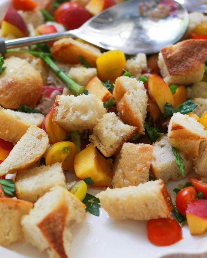 close up of traditional Tuscan bread salad