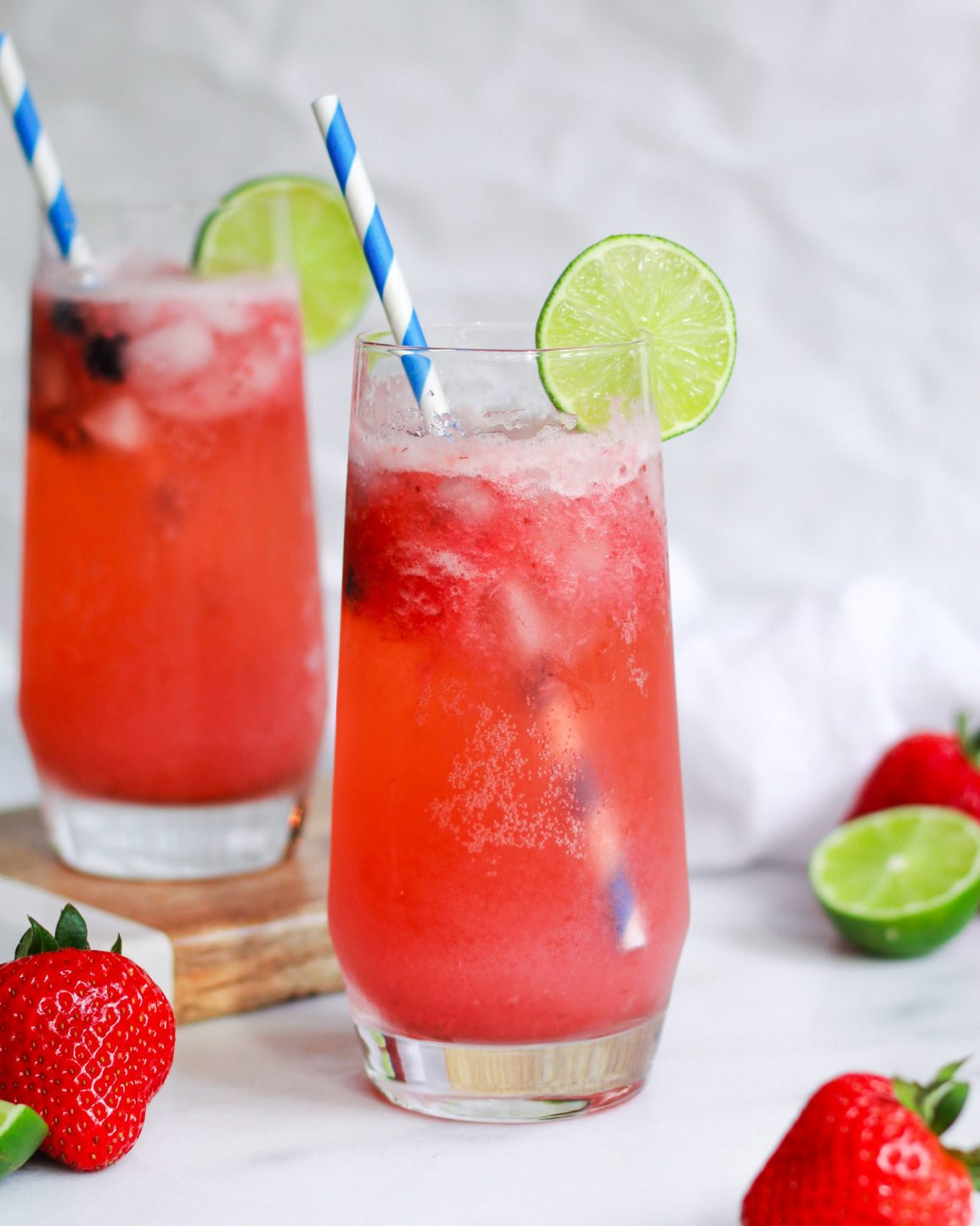 pair of strawberry lime margaritas