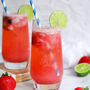 pair of strawberry lime margaritas
