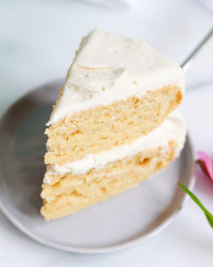 vegan vanilla cake slice naked