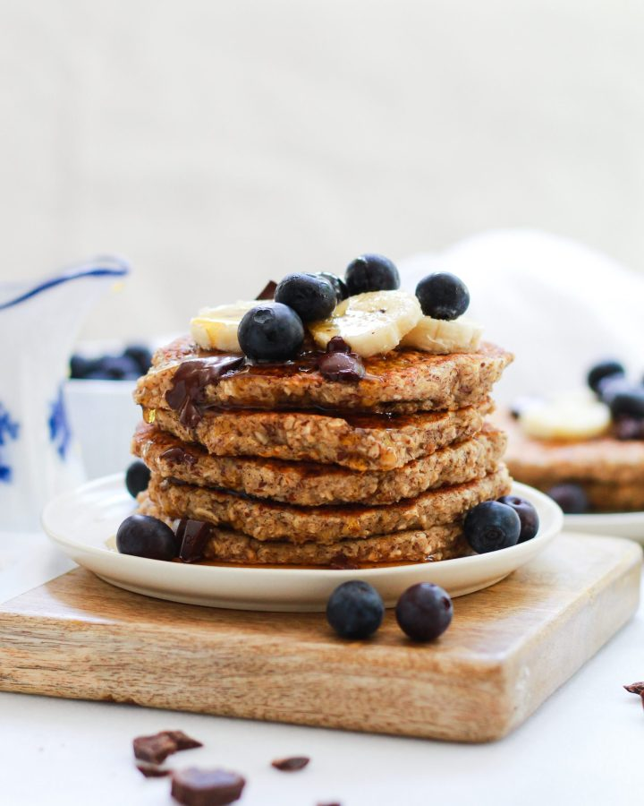maple syrup over gluten free oatmeal pancakes