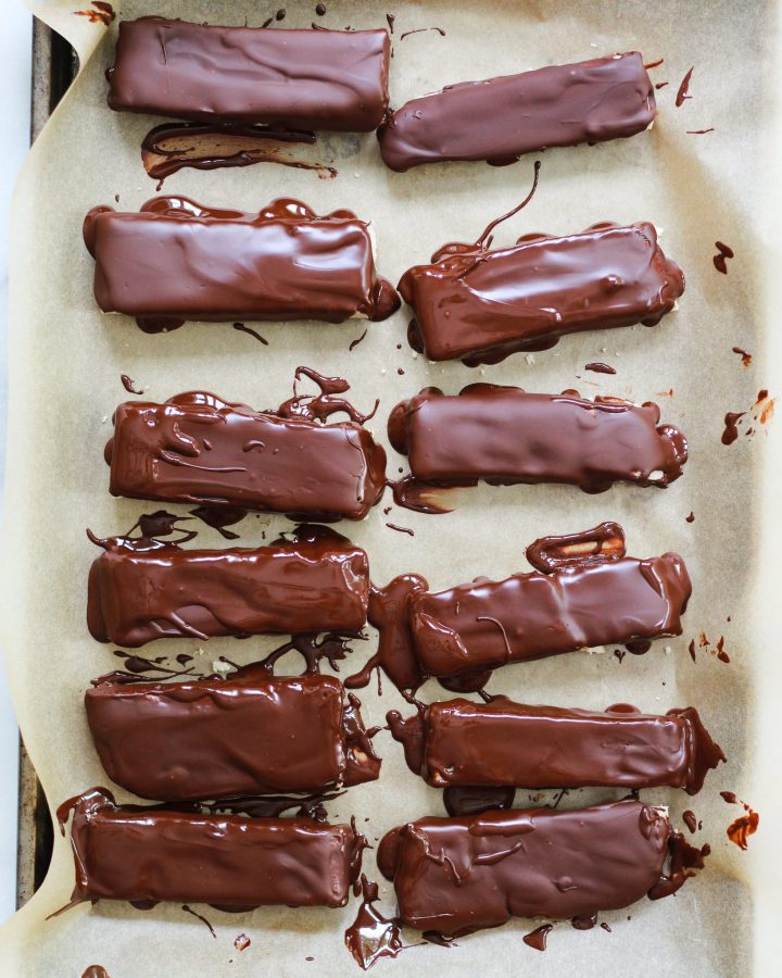 nougat dipped in melted chocolate