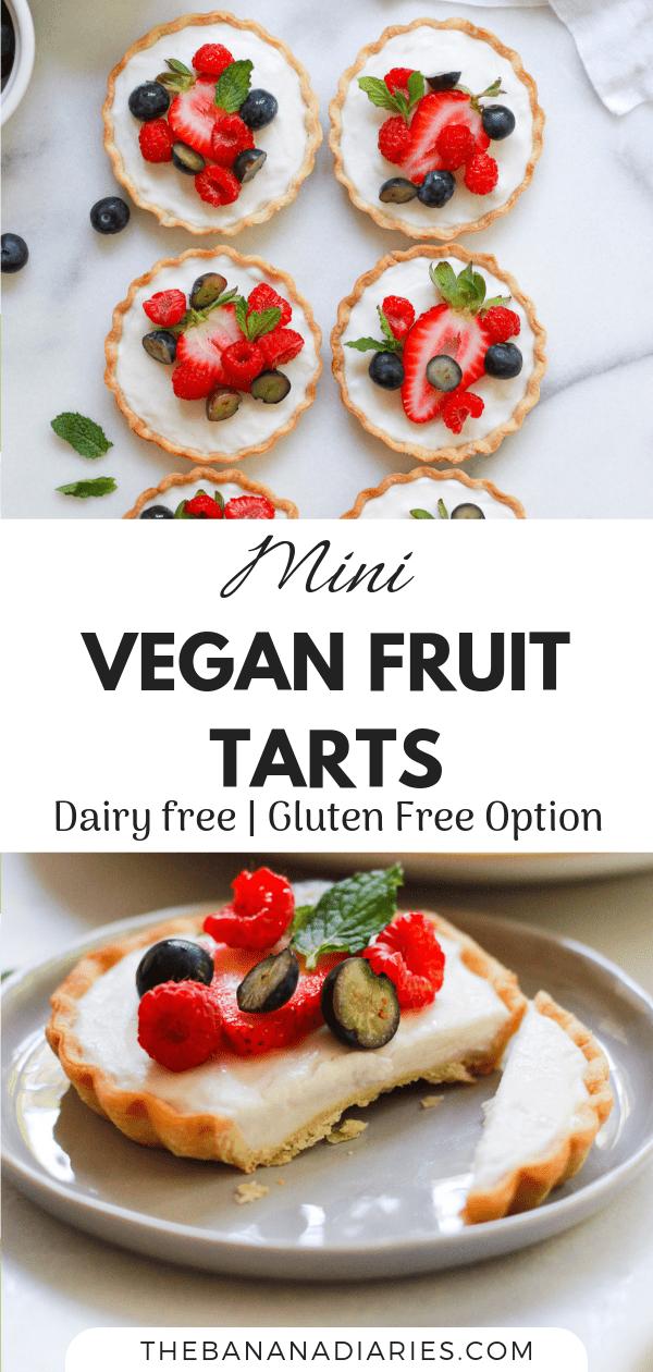 pinterest image for mini fruit tarts with custard