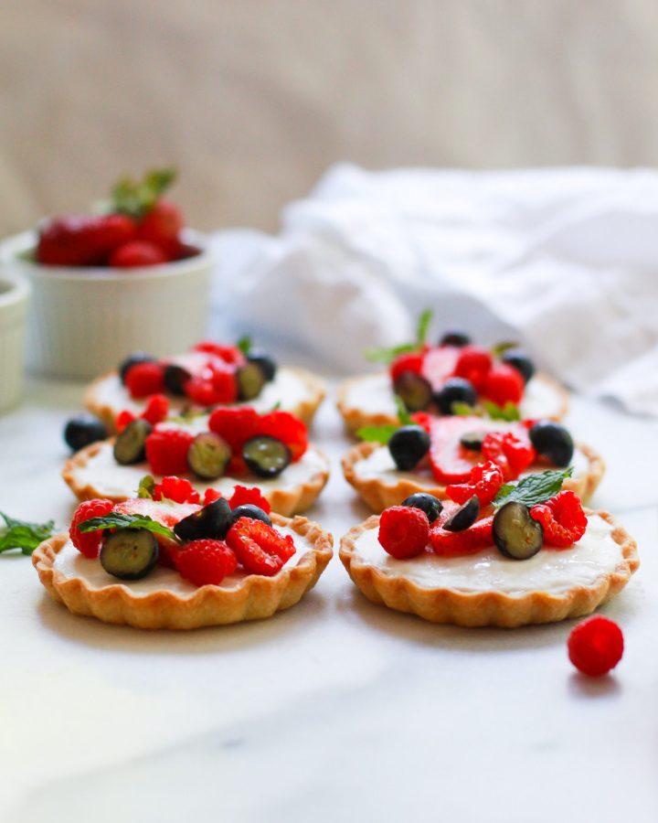 3/4 view of vegan fruit tartlets