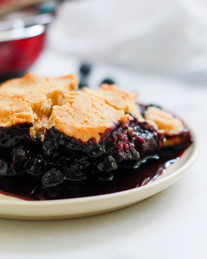 side angle of vegan blueberry cobbler