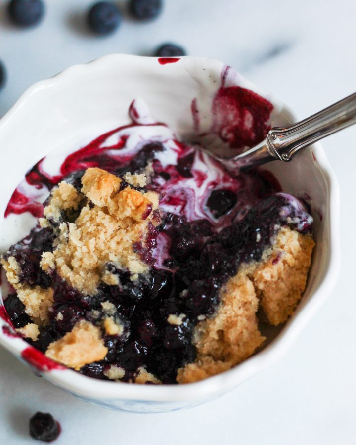 blueberry cobbler mixed in a bowl