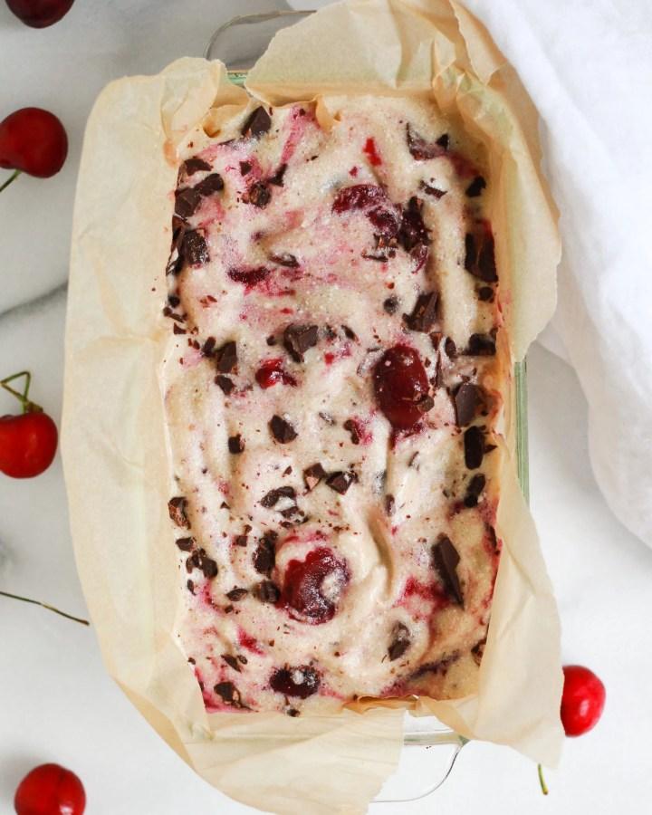 frozen chocolate cherry ice cream just ready to scoop