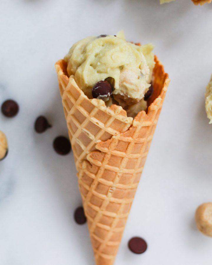 ice cream cone of chocolate chip cookie dough ice cream