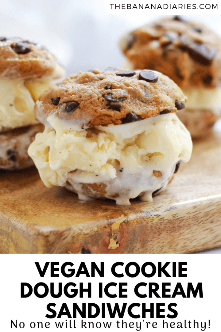 pinterest image for cookie dough ice cream sandwiches