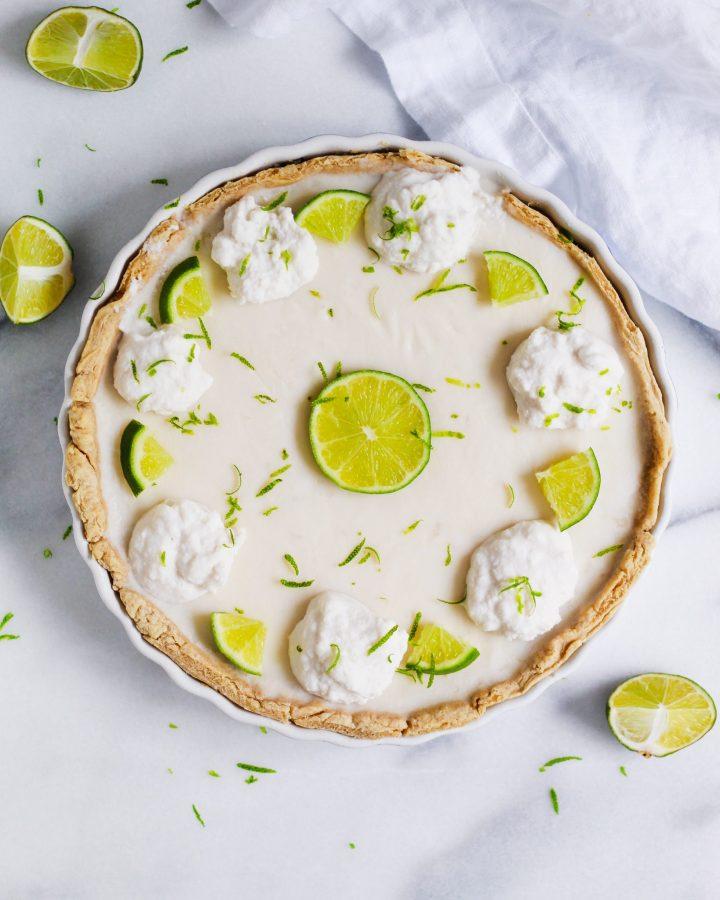 vegan key lime pie on marble slab
