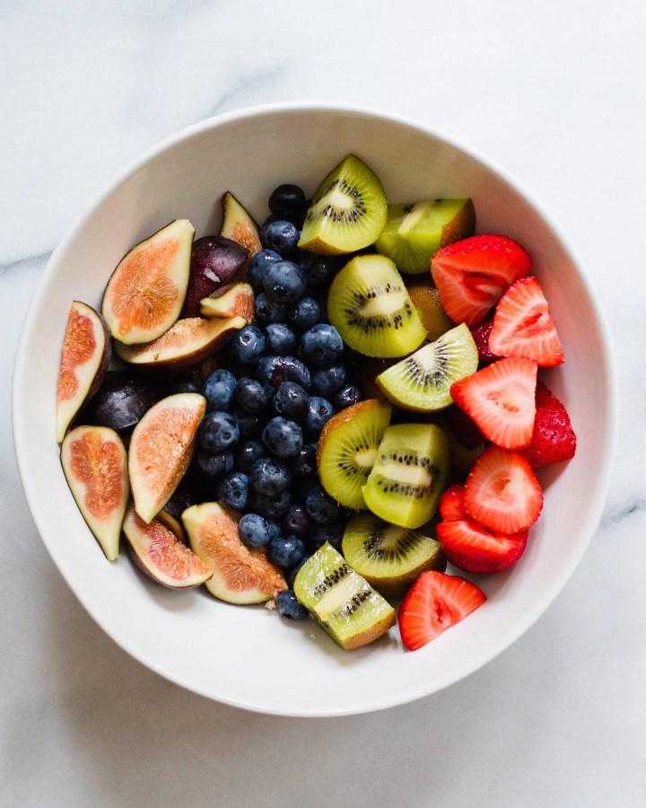 bowl of fresh fruit sliced