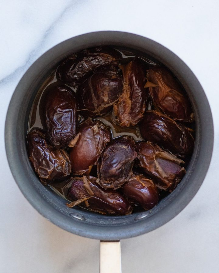 cooked dates in a sauce pan