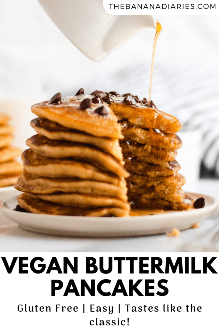 pinterest image for vegan buttermilk pancakes