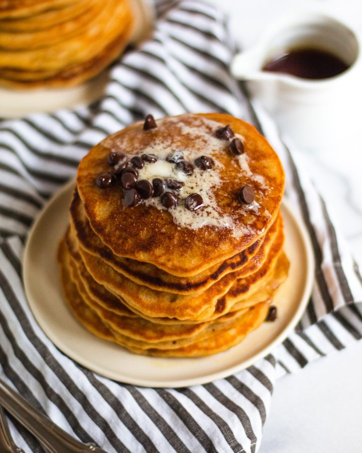 buttermilk pancakes with chocolate chips on top