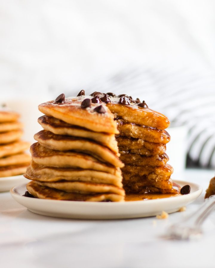 vegan pancakes with chocolate chips and vegan butter