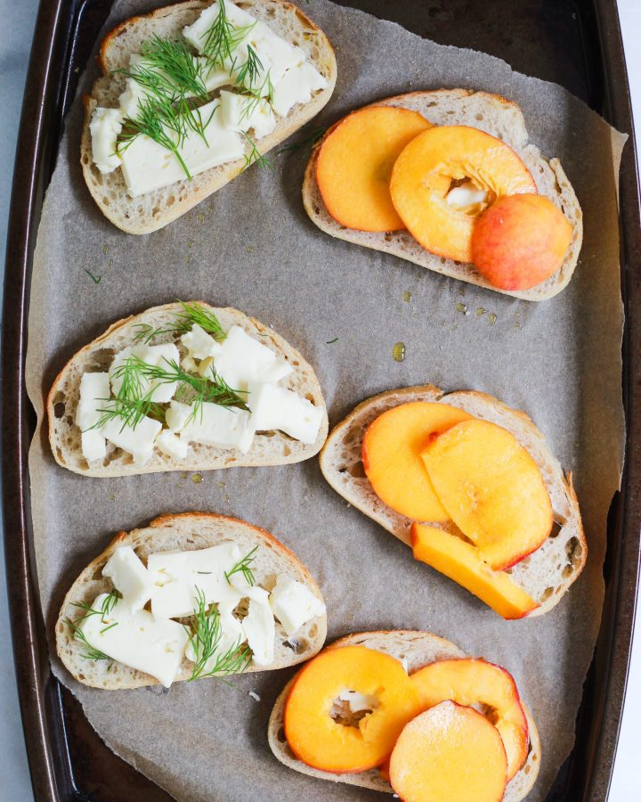 open faced peach and brie grilled cheese sandwiches