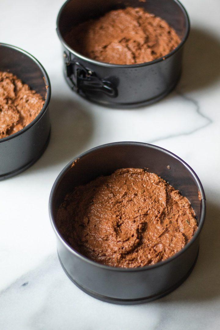 chocolate cake in springform pans