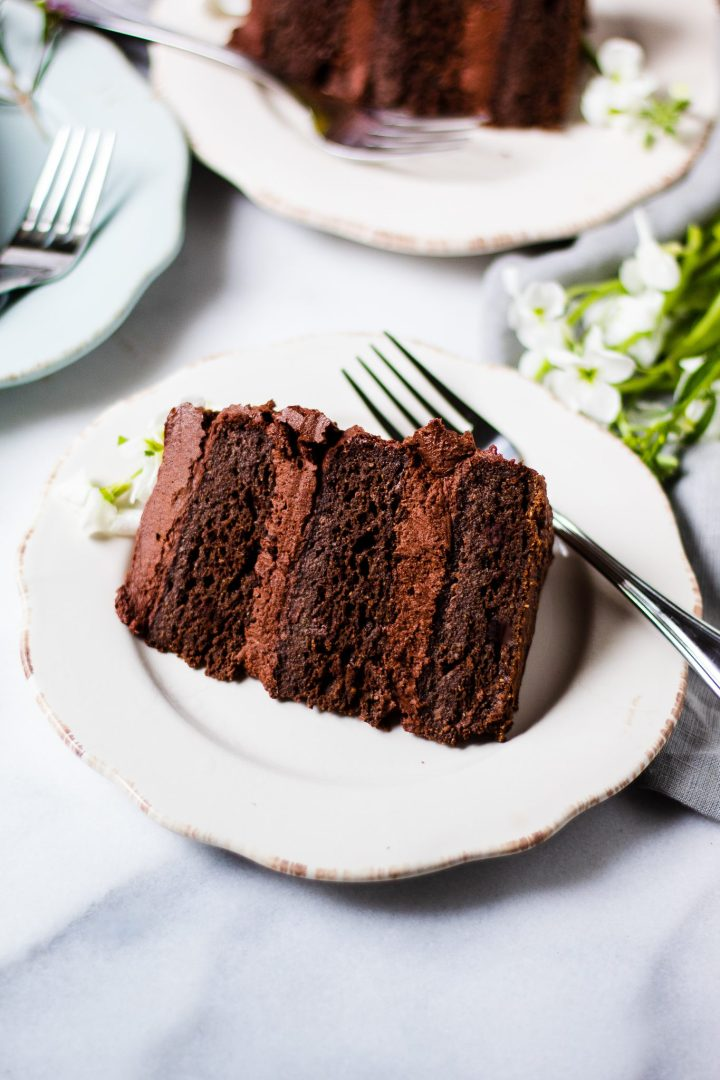 slice of chocolate cake on white plate with fork