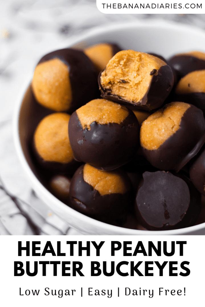 pinterest image for peanut butter buckeyes