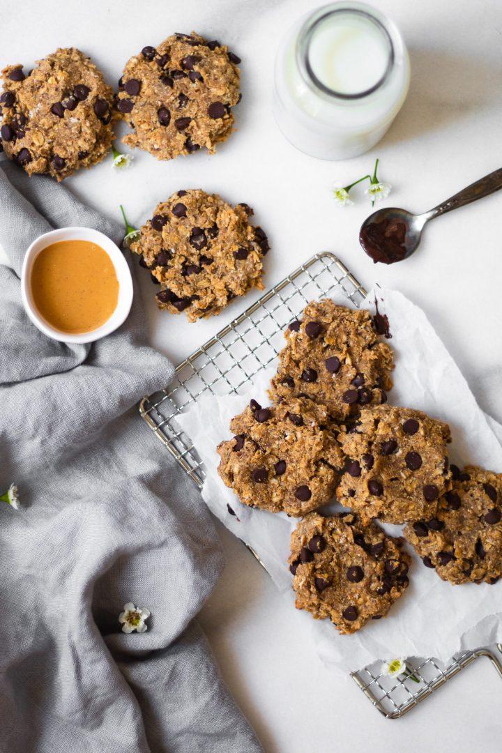 healthy oatmeal cookies on marble slab