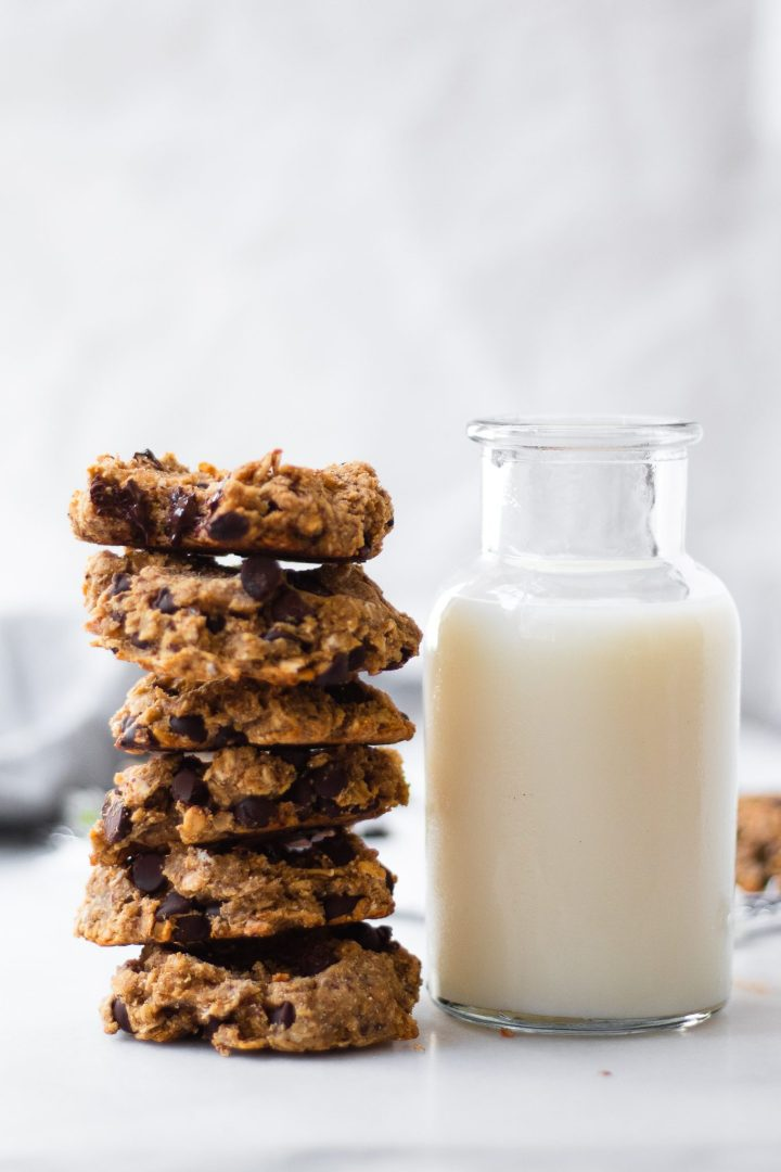 stack of oatmeal cookies with bite taken