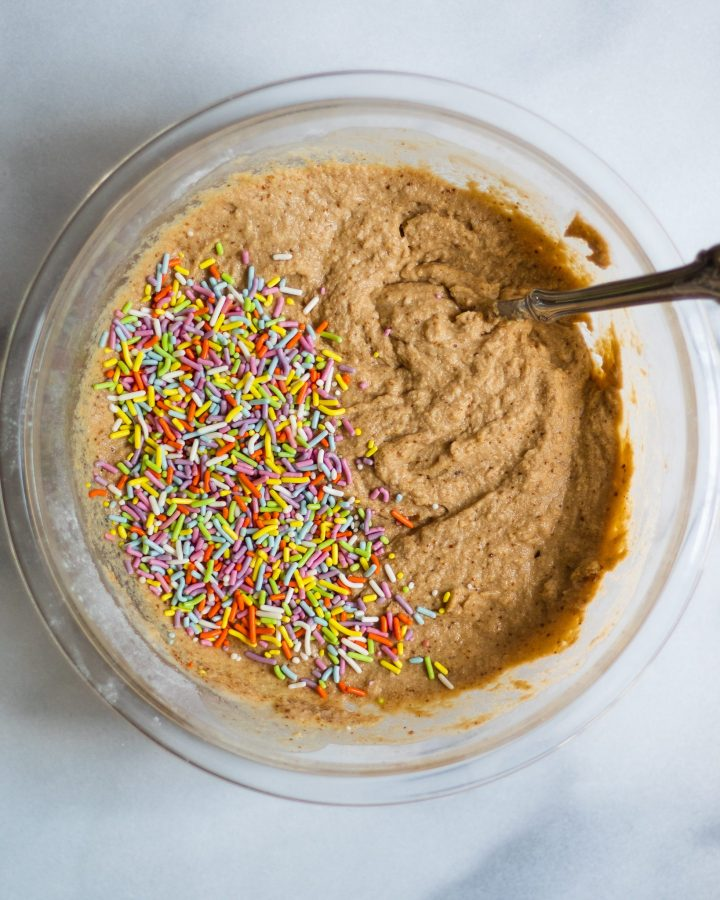 paleo vanilla cupcake batter with sprinkles