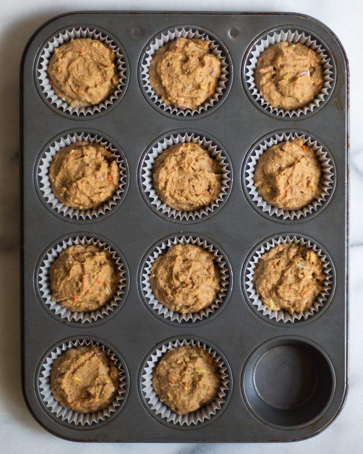 cupcake batter in tin